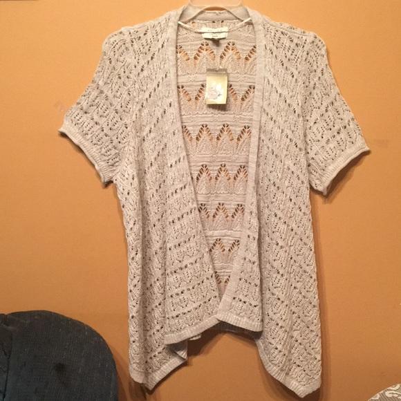 Sonoma tan crochet  cardigan 1 X short sleeve NWT